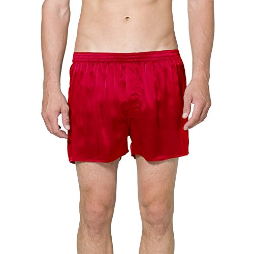 Intimo Men's Classic Silk Boxers, Red, Large
