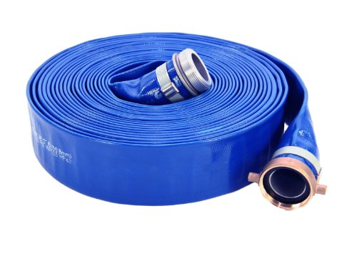 Abbott Rubber 1147-2000-50 PVC Discharge Hose Assembly, Blue, 2' Male X Female NPSM, 65 psi Max Pressure, 50' Length, 2' ID