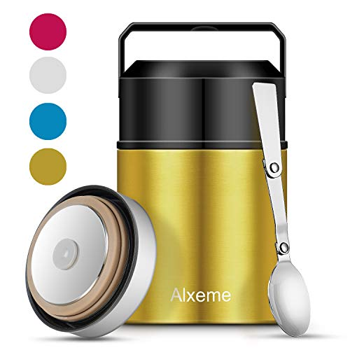 Soup Thermos Food Jar Lunch Box Insulated Lunch Container for Hot Food Wide Mouth Alxeme 27 oz Stainless Steel Vacuum Thermal Bento Box with Folding Spoon Flexible Handle Leak Proof Food Flask – Gold