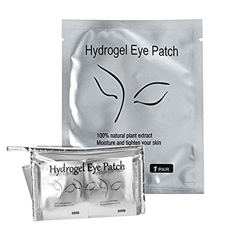 100 Pairs Eyelash Extension Hydrogel Eye Patches, Under Eye Gel Pads-100% Natural Lint Free DIY Lashes Extension supplies(Silver)