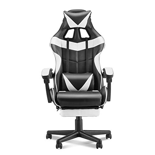 Soontrans Ergonomic Gaming Chair,Office Computer Game Chair,E-Sports Chair,Gaming Chair,Racing Style with Adjustable Recliner Headrest Lumbar Pillow and Retractable Footrest(Polar White)
