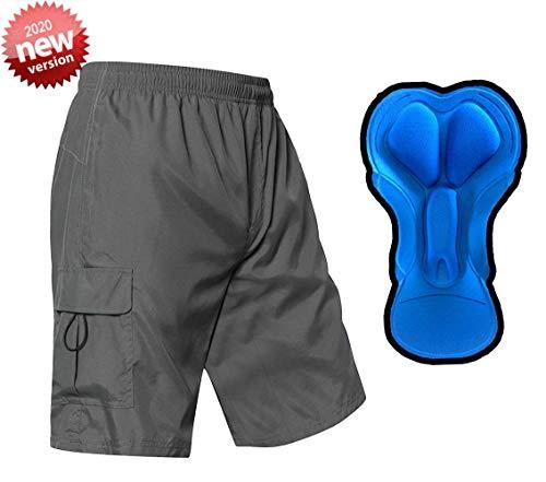 EZRUN Men's 3D Padded Mountain Bike Shorts Lightweight MTB Cycling Shorts (Grey,m)