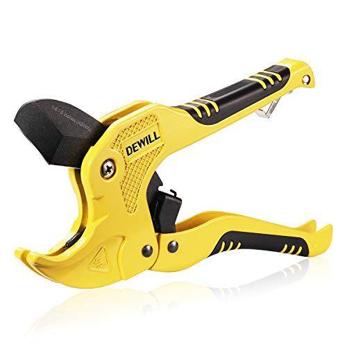 DEWILL Ratchet-type Pipe and PVC Cutter, One-hand Fast Pipe Cutting Tool, for Cutting1-5/8 inch PVC PPR Plastic Hoses and Pipe, Suitable for Home Working and Plumber