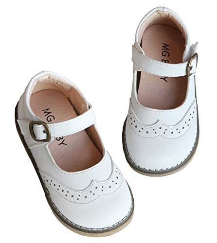 DADAWEN Girl's Classic Mary Jane School Uniform Shoes Flat Dress Shoes White US Size 6 M Toddler