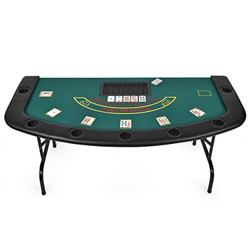 Giantex Folding Play Poker Table w/Cup Holder, for Texas Casino Leisure Game Room, Foldable Blackjack Table (7 Player (Poker Table))