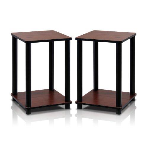 Furinno Turn-N-Tube End Table Corner Shelves, Set of 2, Dark Cherry/Black