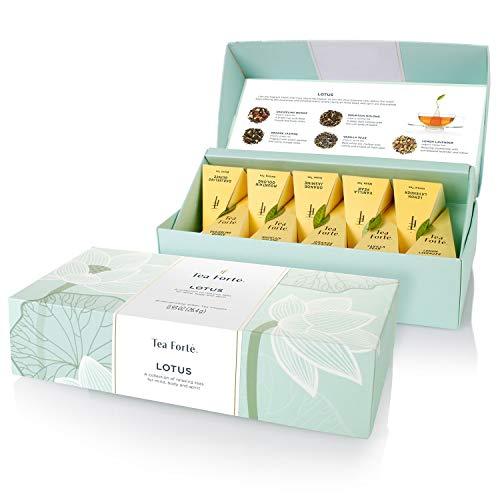Tea Forte Petite Presentation Box Tea Samplers, Assorted Variety Tea Box, 10 Handcrafted Pyramid Tea Infusers (Sampler - Lotus)