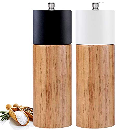 Salt and Pepper Grinder Set With Black and White Tall Salt and Pepper Shakers with Adjustable Coarseness, Salt Grinders and Pepper Mill Shaker Set