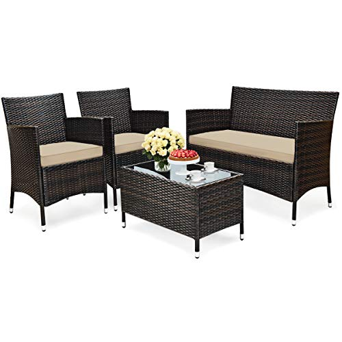 HAPPYGRILL 4-Piece Rattan Patio Furniture Set, Outdoor Sofa Table Set w/Tempered Glass Coffee Table & Cushion, Manual Weaving Wicker Conversation Set for Garden, Lawn, Poolside and Backyard