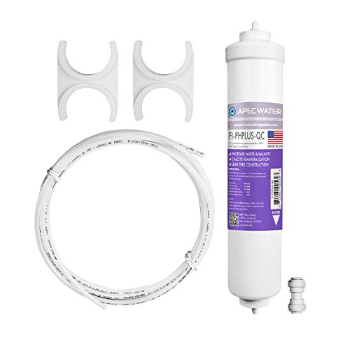 APEC PHPLUSKIT-14 US MADE 10' Alkaline High Purity pH+ Calcium Carbonate Inline Filter Kit with 1/4' Quick Connect