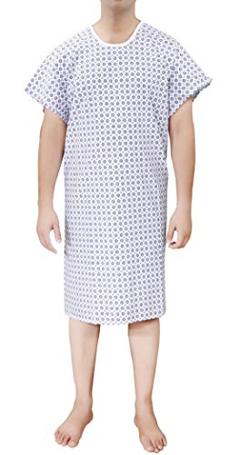 Ruvanti 4 PK Cotton Blend Hospital Gown Fit Up to 2XL for Medical Labor delivery