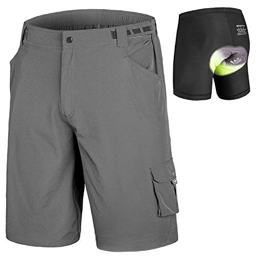 Men's MTB Shorts Padded Mountain Bike Shorts, Loose Fit Bicycle Baggy Shorts with Removable Liner