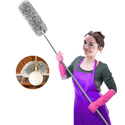 Webster Cobweb Duster,Showroom Microfiber Duster Extendable Ideal for Cleaning Blinds Ceiling Fans Interior Roof TV Bookcases Eco-Friendly Hand Duster