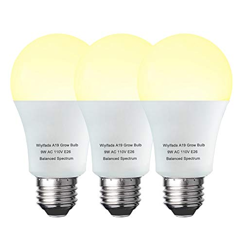 3 Pack A19 Full Spectrum LED Plant Light Bulb Indoor Grow Light Bulb , E26 110V 9W Grow Bulb Replace up to 100W, Plant Bulb for Indoor Plants, Flowers, Greenhouse, Indore Garden, Hydroponic