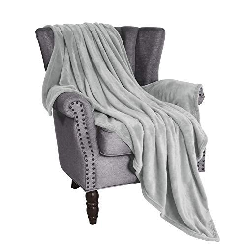 Exclusivo Mezcla Soft Flannel Fleece Velvet Plush Throw Blanket – 50' x 60' (Light Grey)