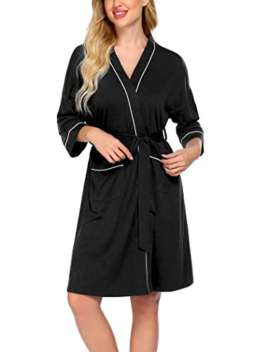 Ekouaer Women's Kimono Robes Lightweight House Bathrobe Sleepwear Ladies Short Loungewear with Pockets(Black,M)