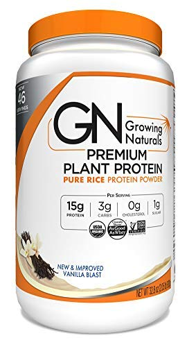 Growing Naturals | Organic Premium Plant Based Protein, Pure Rice Protein Powder | Vanilla Blast | Non-GMO, Vegan, Gluten-Free, Keto Friendly, Shelf-Stable | 2LB