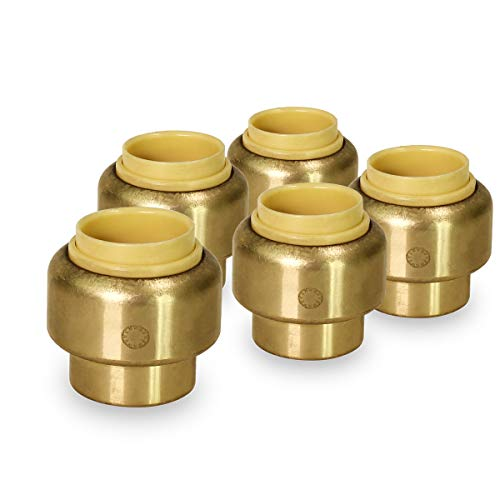 Pushlock UPSE12-5 Plug End Cap Pipe Fitting Push to Connect Pex Copper, CPVC, 1/2 Inch, Brass Pack of 5