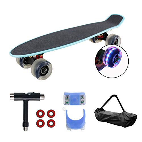 Geelife 22' Complete Mini Cruiser Skateboard for Beginners Youths Teens Girls Boys with LED Wheels (Baby Blue)