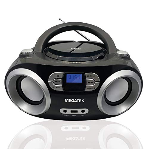 Megatek Portable CD Player Boombox, Bluetooth FM Radio Stereo System with Crystal-Clear Sound and Enhanced Bass, MP3 Playback, USB Input, Audio-in, Headphone Jack, LCD Display, AC/DC Operated