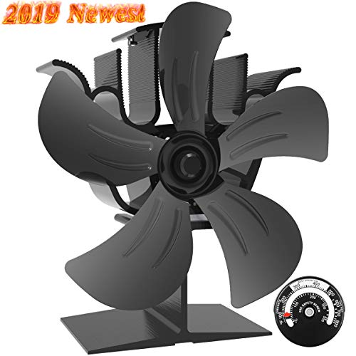 Sonyabecca 5 Blade Stove Fan Wood Stove Fans Fireplace Fan Heat Powered with Magnetic Thermometer Aluminium Eco-Friendly for Wood Log Burner Fireplace