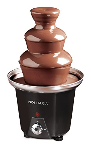 Nostalgia CFF965 24-Ounce Chocolate Fondue Fountain, 1.5-Pound Capacity, Easy To Assemble 3 Tiers, Perfect For Nacho Cheese, BBQ Sauce, Ranch, Liqueuers, Black