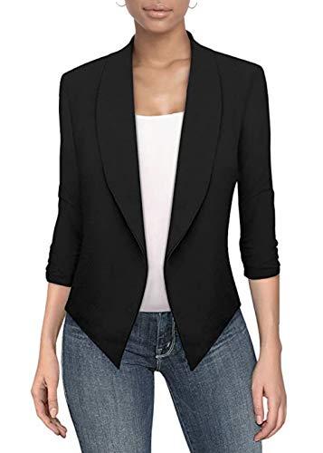 Womens Casual Work Office Open Front Blazer JK1133 Black XLarge