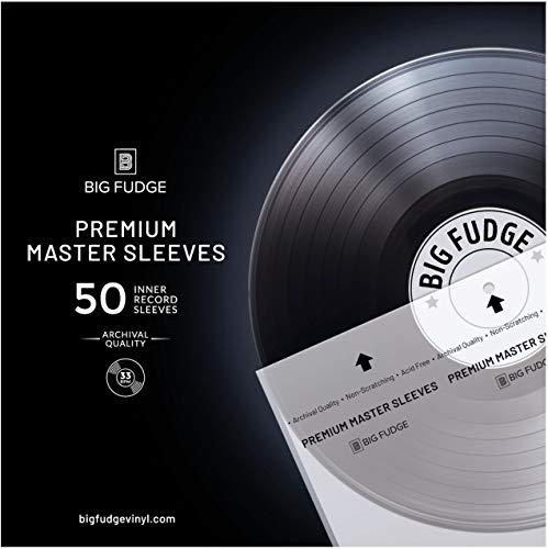 Big Fudge Premium Master Vinyl Record Sleeves - 50x Record Inner Sleeves for 12' Vinyl Record Storage. Clear 3-Layer LP Sleeves with Anti-Static Rice Paper. Acid Free, Archival Album Sleeves