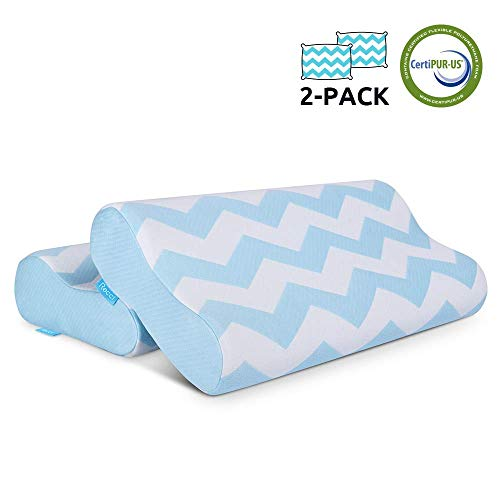 RECCI 2-Pack Contour Memory Foam Pillow, Side Sleeper Pillows for Neck and Shoulder Pain, Ergonomic Cervical Pillow, Free Pillowcase Included (Queen Size)
