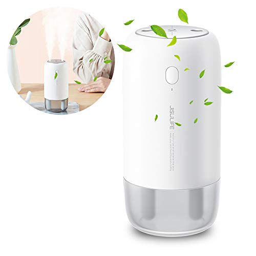 JISULIFE Mini Travel Air Humidifier,USB Portable Desk Humidifier, 10 Hours Running time After Fully Charged, Two Spray Ports, Super Quiet, for Home Car Office Travel Airplane Train