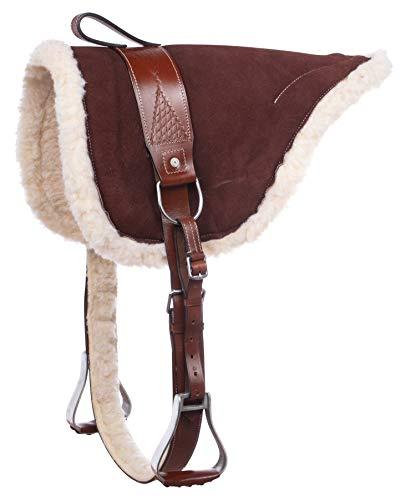 Acerugs New Western English Horse Riding Bareback PAD Premium TREELESS Saddle Leather Stirrups Comfy Horse Saddle TACK (Brown)