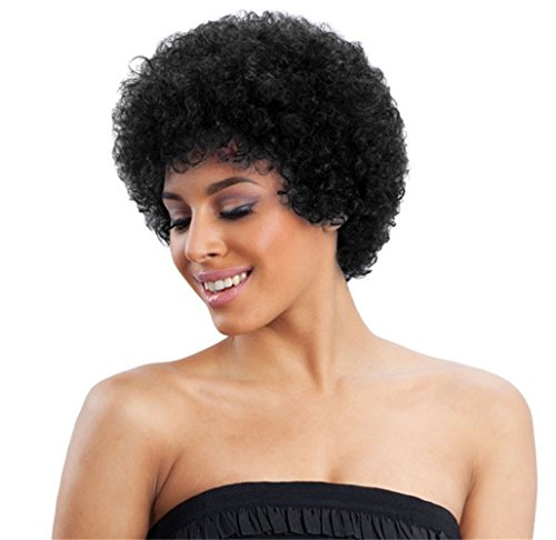 ALICE Afro Wig 4' Short Kinky Curly Human Hair Wig (Natural Black)