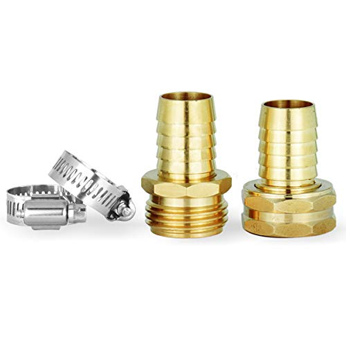 Heavy Duty Water Hose Repair Kit,Hose Connector,2 PCs Male and Female Hose Clamps,Fits All 3/4-Inch Garden Hose