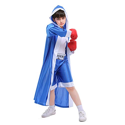 ROZKITCH Children Boxer Halloween Boxing Costume Dress-Up Role Play Party Blue XL