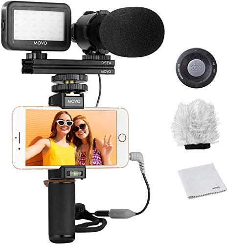 Movo Smartphone Video Rig Kit V7 with Grip Rig, Stereo Microphone, LED Light and Wireless Remote - YouTube, TikTok, Vlogging Equipment for iPhone/Android Smartphone Video Kit