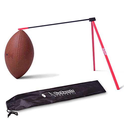 GoSports Football Kicking Tee | Metal Place Kicking Stand for Field Goal Kicks - Portable Holder Compatible with All Football Sizes