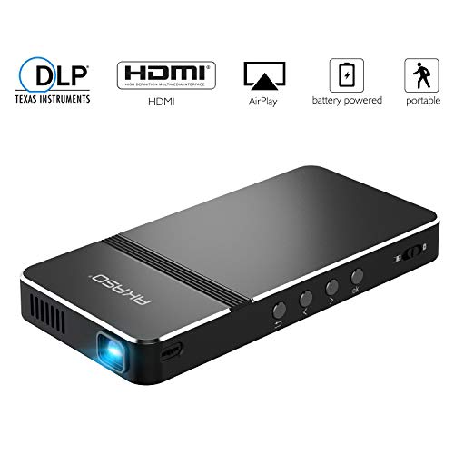 Pico Projector, AKASO Mini Projector Portable 1080P HD DLP LED 50 ANSI Lumens with WiFi, HDMI, USB, Micro SD, 3.5mm Audio and Remote Control for iPhone, Android, Laptop, PC, Game, Home Theater