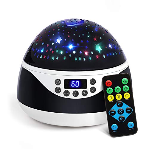 2020 Newest Star Projector with 9 Vivid Light Patterns and 12 Lullabies, Silent Rotating Night Light for Kids with Remote and Timer Function, Sleep Helper and Gift Choice for Babies Girls Boys