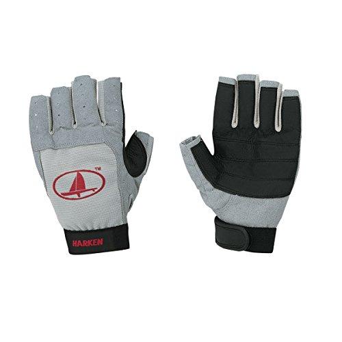 Harken Sport Classic 3/4 Finger Glove, Grey/Black/Red, Large