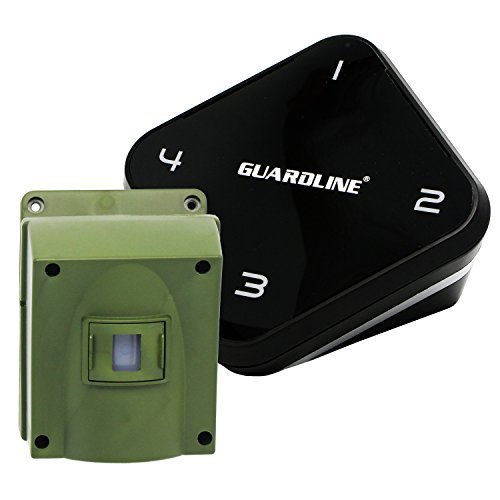 Guardline ¼ Mile Long Range Wireless Driveway Alarm Outdoor Weather Resistant Motion Sensor & Detector- Best DIY Security Alert System- Monitor & Protect Outside Property, Yard, Garage, Gate, Pool