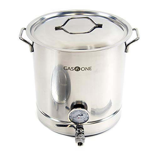 GasOne 16 Gallon Stainless Steel Home Brew Kettle Pot Pre Drilled 4 PC Set 64 Quart Tri Ply Bottom for Beer Brewing Includes Stainless Steel Lid Ball Valve, Thermometer, Spigot - Home Brewing Supplies