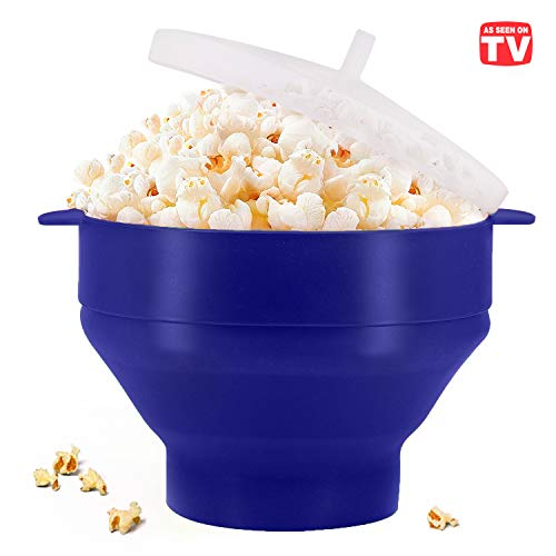 Microwaveable Silicone Popcorn Popper, BPA Free Collapsible Hot Air Microwavable Popcorn Maker Bowl, Use In Microwave or Oven (Blue)