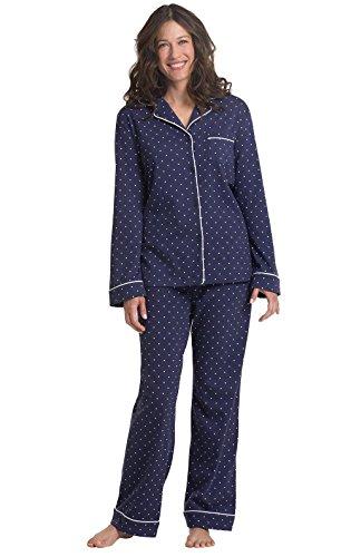 PajamaGram Pajama Set for Women - Cotton Jersey Pajamas Women, Navy, M, 10-12