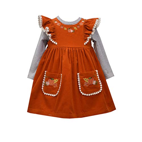 Bonnie Jean Girl's Thanksgiving Corduroy Dress - Orange Pumpkin Jumper for Baby, Toddler and Little Girls, 2T