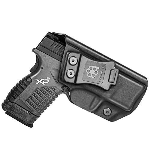 Amberide IWB KYDEX Holster Fit: Springfield XD-S 3.3' 9mm/.40S&W/.45ACP | Inside Waistband | Adjustable Cant | US KYDEX Made (Black, Right Hand Draw (IWB))
