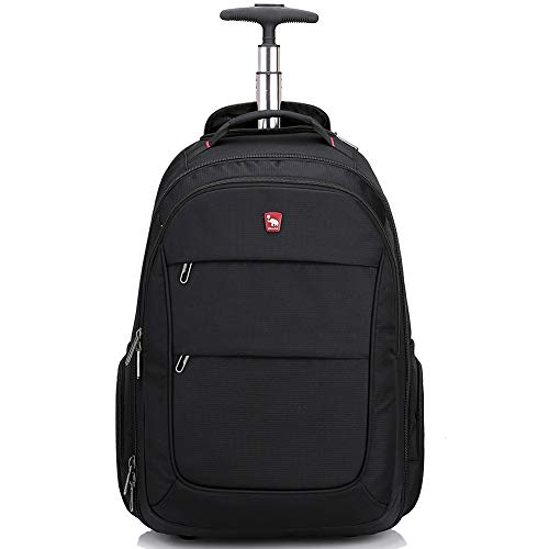 Rolling Backpack with Wheels for Women Men Travel 30L Carry on Luggage School College 15.6 Inch Laptop Business Bag Black