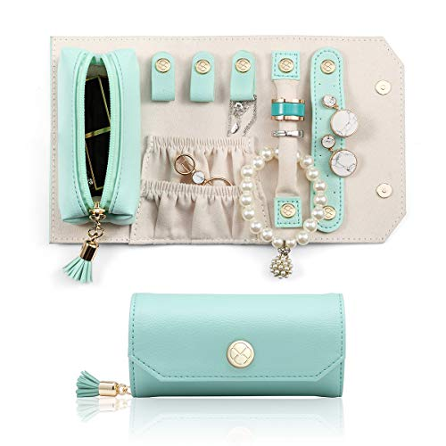 Vlando Travel Jewelry Organizer, Portable Leather Jewelry Roll for Travel, Mini Size & Light Weight Jewelry Storage Organizer Bag for Daily Jewelries for Bracelets, Earrings, Rings (Green)
