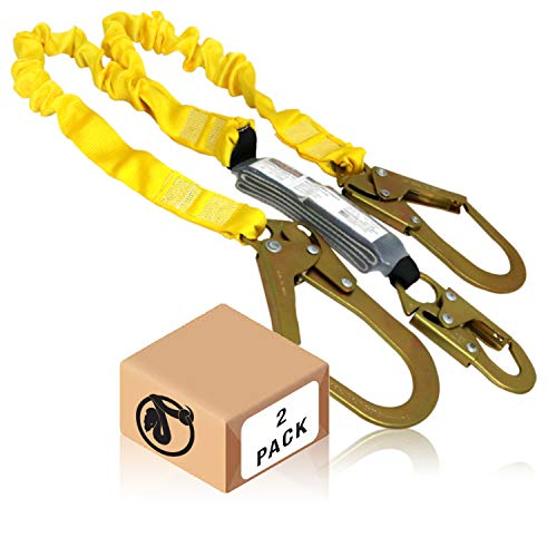 KwikSafety (Charlotte, NC) PYTHON 2 PACK (External Shock Absorber) Double Leg 6ft Safety Lanyard OSHA ANSI Fall Protection Restraint Equipment Snap Rebar Hook Connectors Construction Arborist Roofing