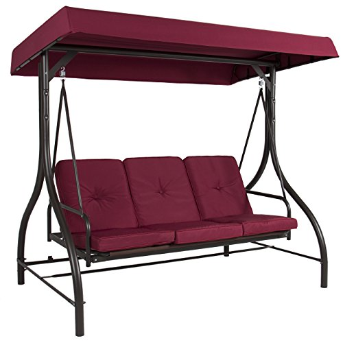 Best Choice Products 3-Seat Converting Outdoor Patio Canopy Swing Hammock - Burgundy
