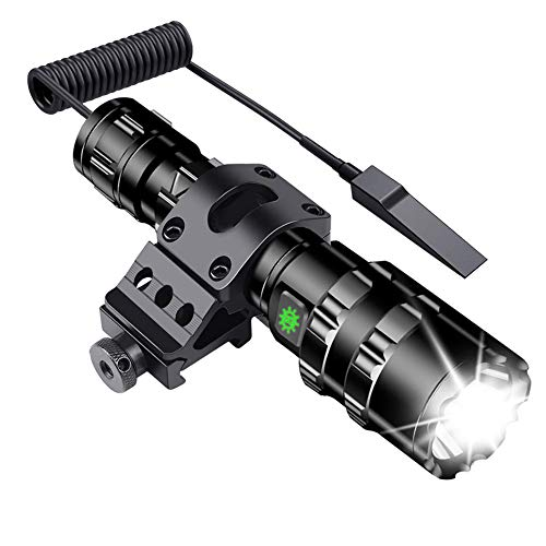 Tactical Flashlight JT10 1200 Lumen Matte Black LED WeaponLight with MSD Offset Picatinny Rail Mount, Rechargeable Batteries and 2 Modes Pressure Switch Included,Outdoor Hunting Shooting